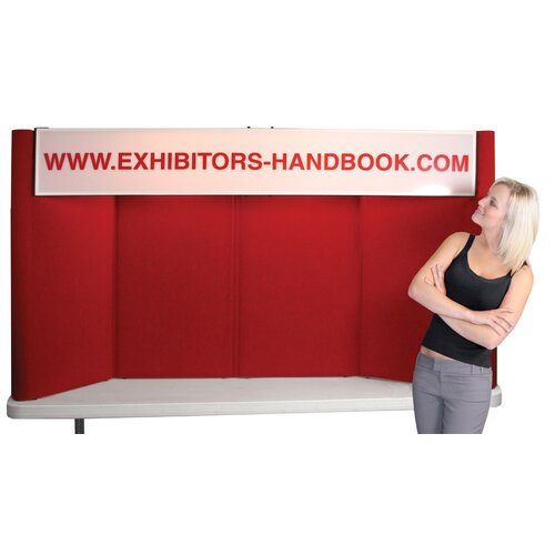 Exhibitor's Hand Book Hero H08 Tabletop Folding Display Panel with Backlit Header and Curved Edges