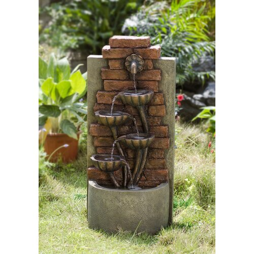 Polyresin and Fiberglass Cascading Bowls Wall Water Fountain