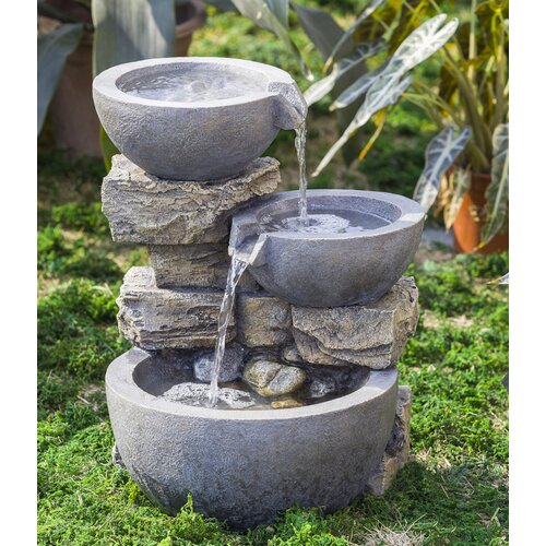 Polyresin and Fiberglass Rock and Pot Water Fountain