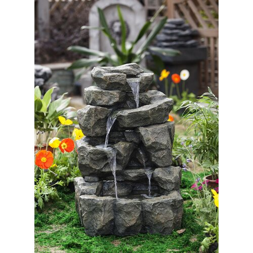 Polyresin and Fiberglass Rock Waterfall Water Fountain