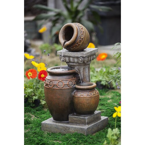 Classic Polyresin and Fiberglass 3-Pot and Column Water Fountain