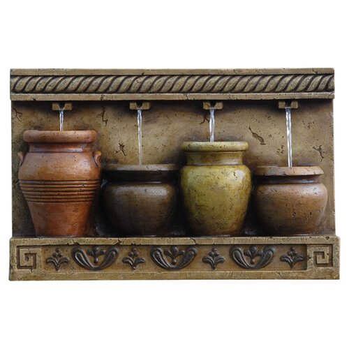 Polyresin and Fiberglass Tiered Colorful Pots Wall Fountain