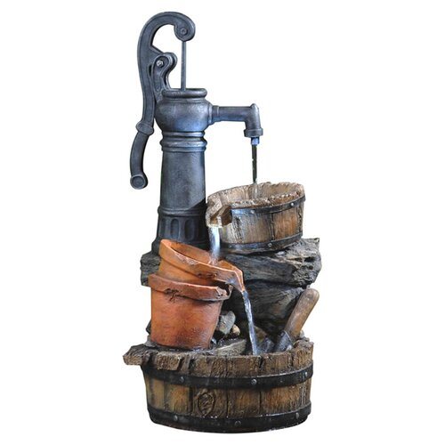 Fountain Cellar Polyresin and Fiberglass Tiered Classic Water Pump Fountain