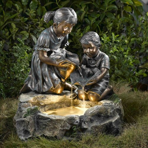 Fountain Cellar Fratelli Siblings Rock Outdoor/Indoor Fountain with Light