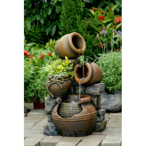 Fountain Cellar Polyresin and Fiberglass Tiered Multi Pots Fountain