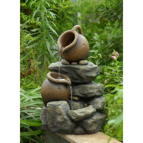Fountain Cellar Polyresin and Fiberglass Tiered Small Pots Fountain