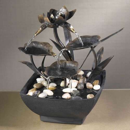 Fountain Cellar Cadono Metal Leaves Tabletop Fountain