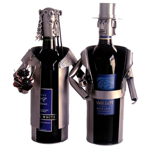 H & K SCULPTURES Bride & Groom Wine Caddy
