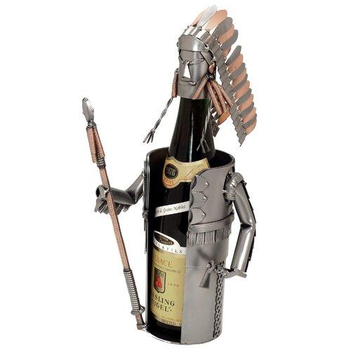 H & K SCULPTURES Indian Chief Wine Bottle Holder