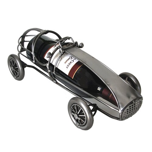 H & K SCULPTURES Classic Race Car Wine Bottle Holder