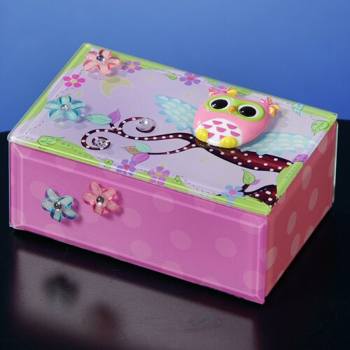 San Francisco Music Box Polka Dot Owl Music Jewelry Box