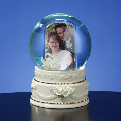 San Francisco Music Box Double Swan Photo Frame Water Globe