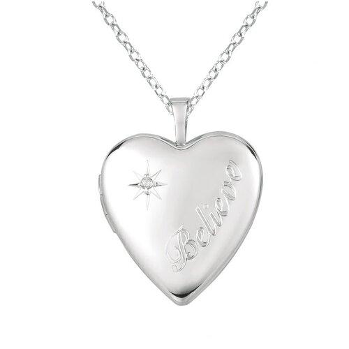 "Momento Lockets ""Believe"" Heart Shaped Locket with Diamond Necklace"