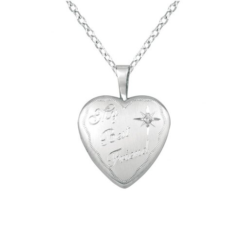 "Momento Lockets ""My Best Friend"" Heart Shaped Locket with Diamond Necklace"