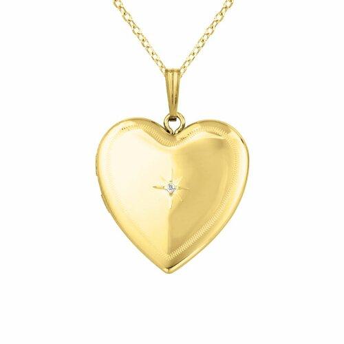 """Momento Lockets """"Border"""" Heart Shaped Locket with Diamod Necklace"""