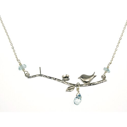 Rafia Jewelry Bird on a Branch Blue Zircon Necklace