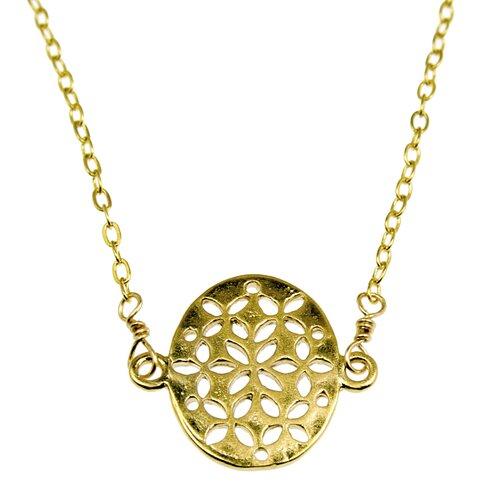 Rafia Jewelry Flat Oval Filligree Off-Center Necklace