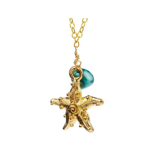 Metal Star Fish Cultured Pearl Pendant Necklace