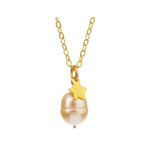 Metal Oval Cut Cultured Pearl Pendant Necklace