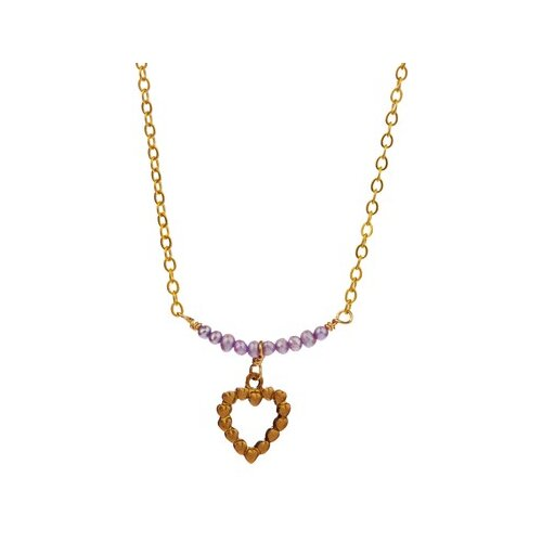 Metal Heart Cultured Pearl Pendant Necklace