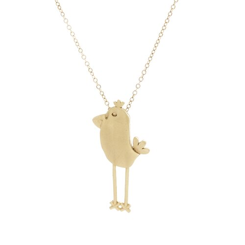 14k Gold Tall Chick Pendant Necklace