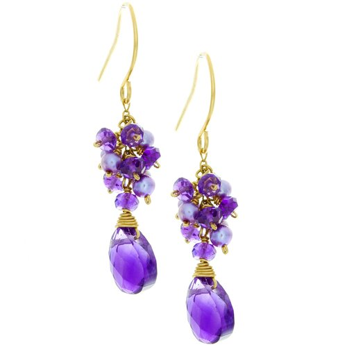 Clustered Gemstone Drop Earrings