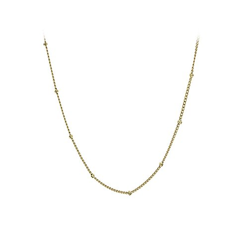 14k Gold Plain Beaded Chain Necklace