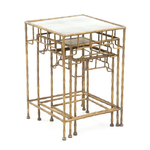 Golden Bamboo Antique Mirror Nesting Tables (Set of 3)