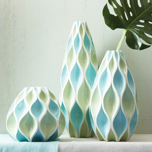 Two's Company Watercolors 3 Piece Waves Vase Set