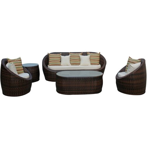 5 Piece Lounge Seating Group with Cushions