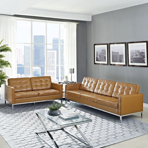 Loft 2 Piece Leather Loveseat and Sofa Set