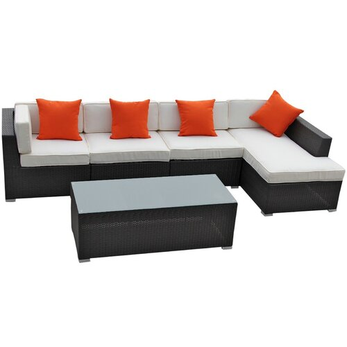El Outdoor 5 Piece Sectional Deep Seating Group with Cushions