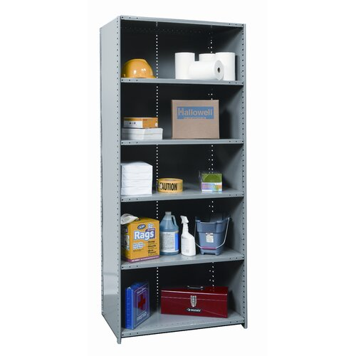"Hallowell Hi-Tech Medium-Duty Closed Type 87"" H 6 Shelf Shelving Unit Starter"