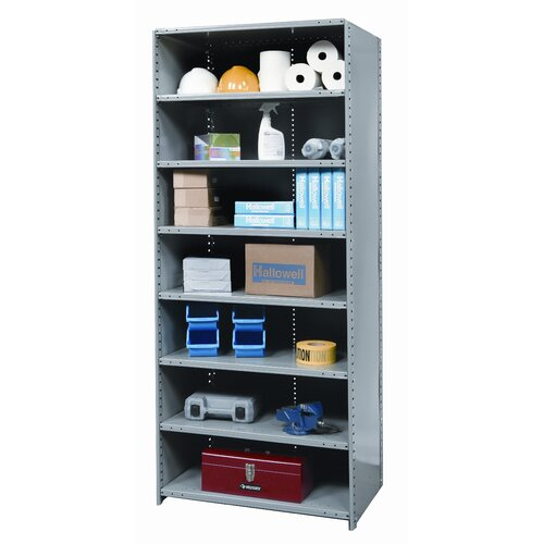"Hallowell Hi-Tech Medium-Duty Closed Type 87"" H 8 Shelf Shelving Unit Starter"