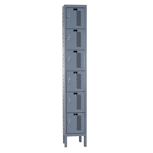 Hallowell Heavy-Duty Ventilated Locker 6 Tier 1 Wide (Knock-Down) (Quick Ship)