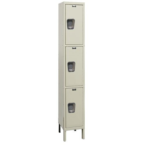 Hallowell Maintenance-Free Quiet Locker Triple Tier 1 Wide (Assembled) (Quick Ship)