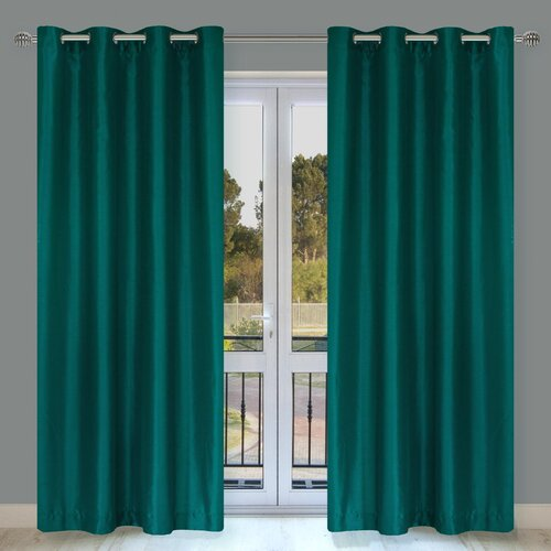 LJ Home Silkana Faux-Silk Grommet Window Panel Pair
