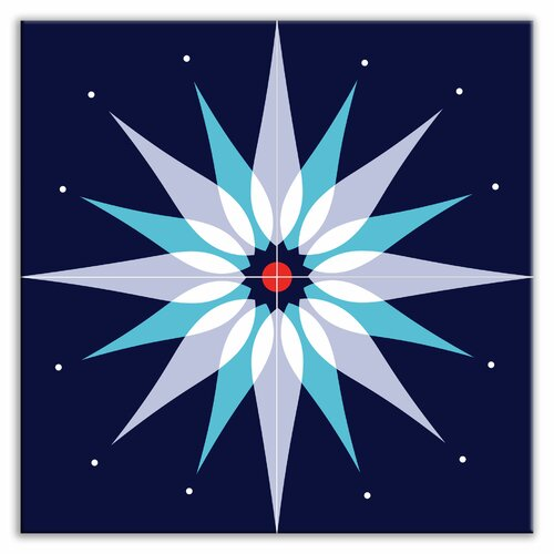 "Oscar & Izzy Earth Quads 12"" x 12"" Satin Decorative Tile Quad in Mod Dew Blue"