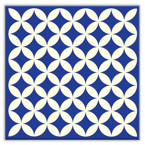 "Oscar & Izzy Folksy Love 6"" x 6"" Satin Decorative Tile in Needle Point Blue"