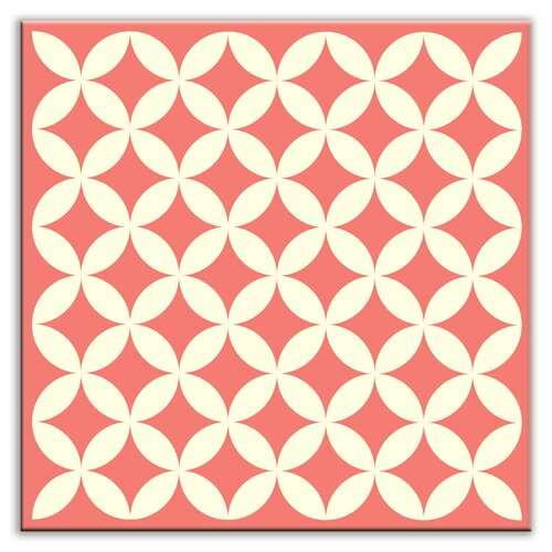 "Oscar & Izzy Folksy Love 6"" x 6"" Satin Decorative Tile in Needle Point Pink"