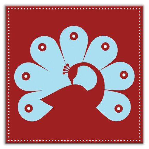 """Oscar & Izzy Folksy Love 6"""" x 6"""" Satin Decorative Tile in Primped Peacock Red-Light Blue"""