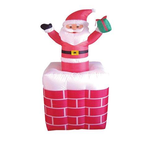 Christmas Inflatables Animated Santa on Chimney Decoration