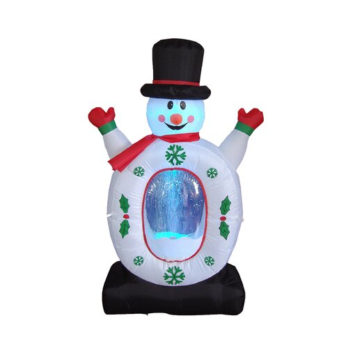 Christmas Inflatable Snowman with Snowflake Decoration