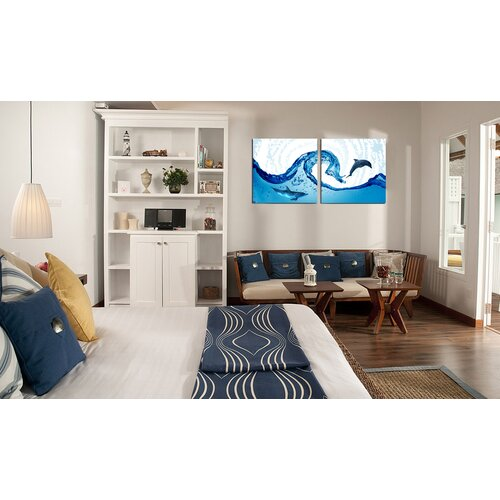 BZB Goods Dolphin in the Ocean Modern 2 Piece Photographic Print