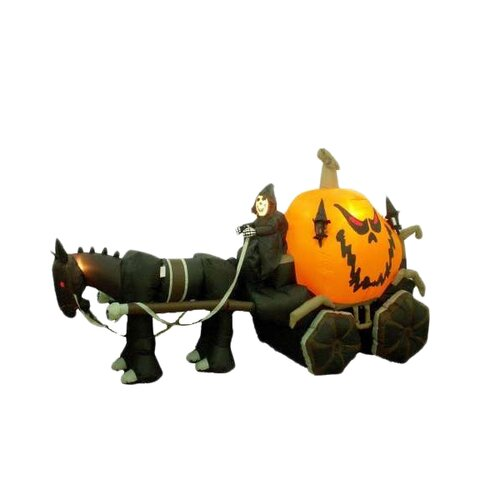 Halloween Inflatable Skeleton Ghost Driving Carriage Decoration