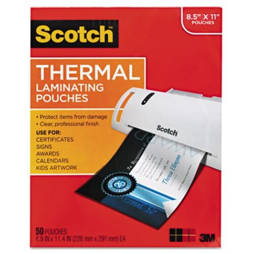 3M Scotch Letter Size Thermal Laminating Pouches,