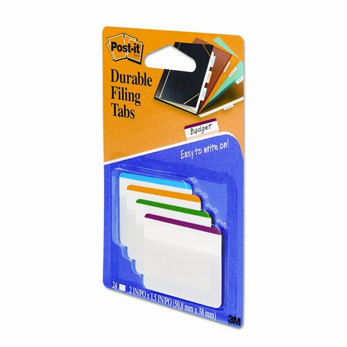 3M Durable Color Bar Index File Tabs, 2w x 1-3/4h, Five Colors, 24/pack
