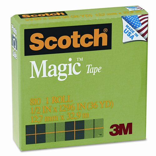"3M Magic Office Tape, 1/2"" x 36 Yards, 1"" Core, Clear"