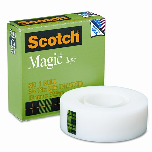 "3M Magic Office Tape, 3/4"" x 36 Yards, 1"" Core, Clear"