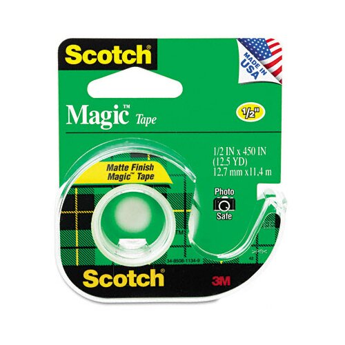 "3M Magic Office Tape with Refillable Dispenser, 1/2"" x 12-1/2 Yards, Clear"